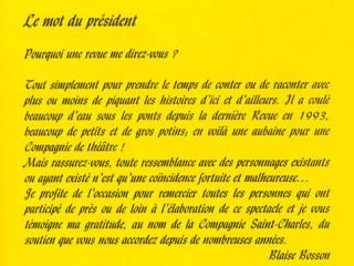 Le mot du président 2000 La Revue